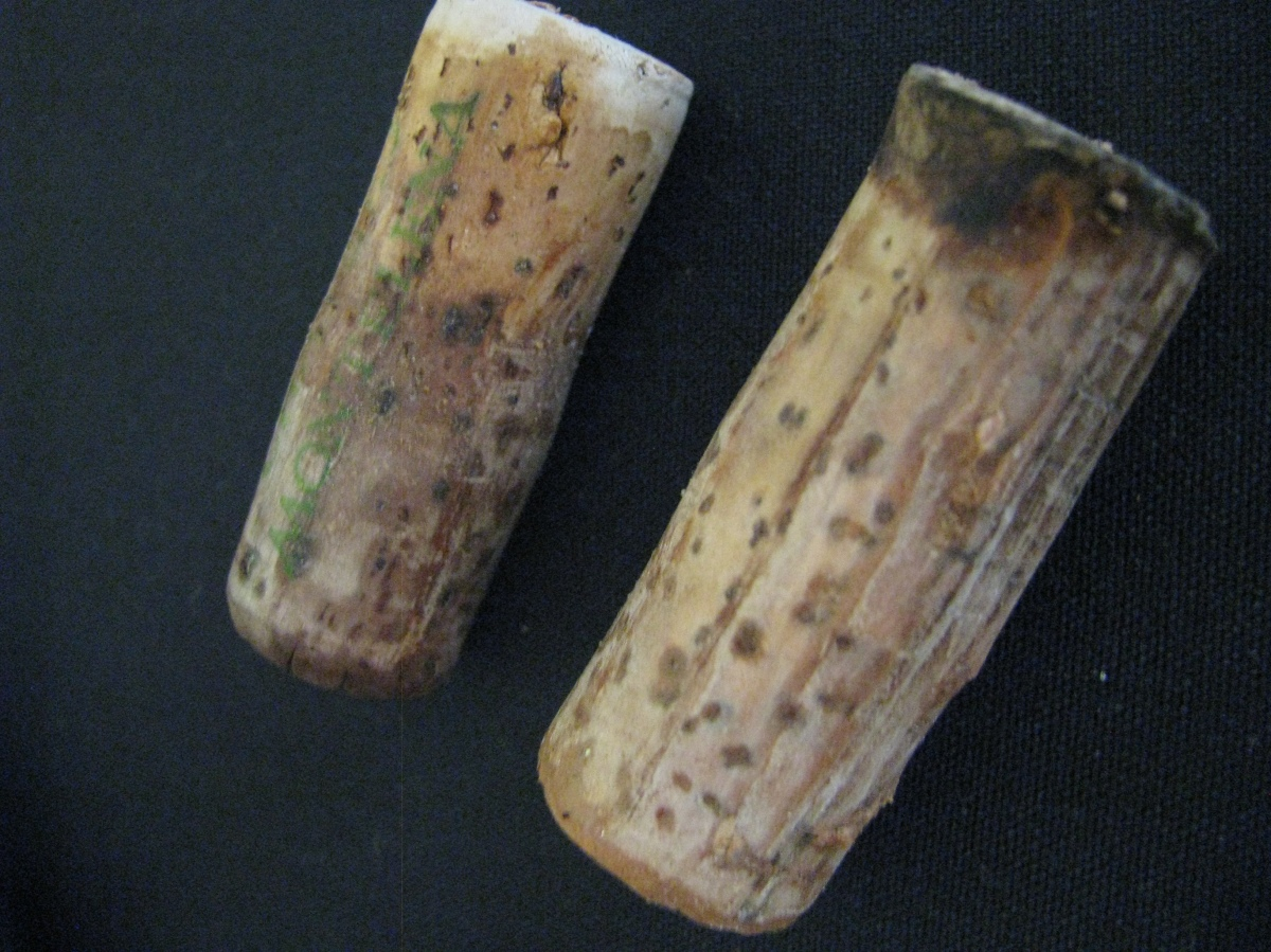Two of the corks from the wines