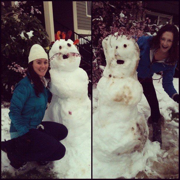 Snow men in Eugene, Oregon